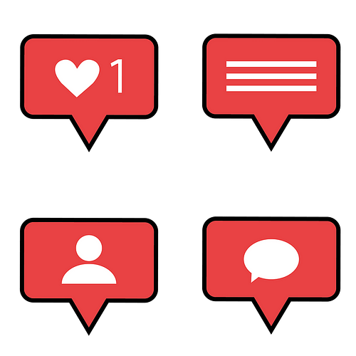 Social media likes, comments, followers icons