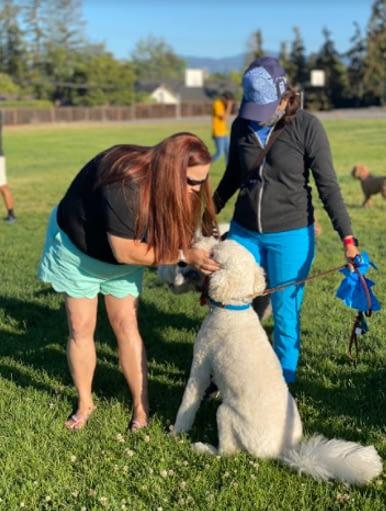 Dog guru pampering a white doggo