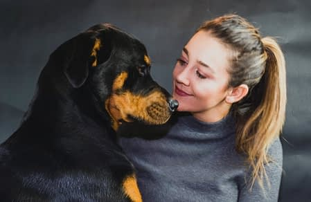 Rottweiler with a woman