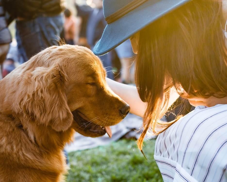 Woman and dog bonding